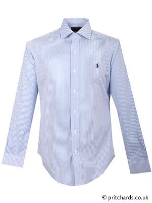 471218c3f0 Polo Ralph Lauren Blue & White Stripe Custom Fit Regent Poplin Dress Shirt